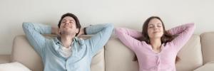 Couple enjoying purified air